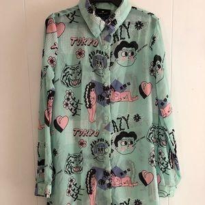 Lazy Oaf Tops - Lazy Oaf Bukimi Go Go Tokyo Oversized Shirt Dress